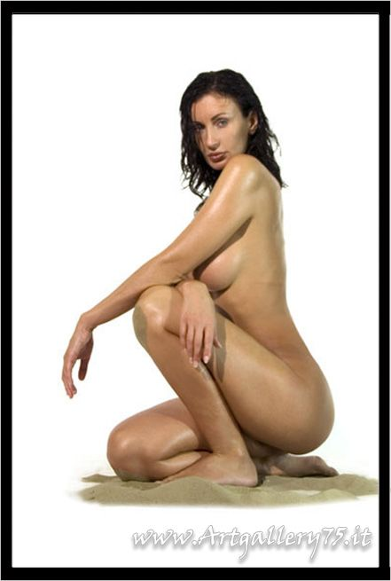 Nude brunette with long dark hair